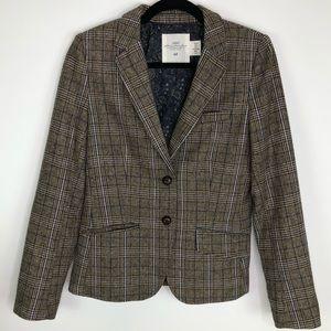 L.O.G.G. Glen Check Wool Elbow Patch Blazer Size 6